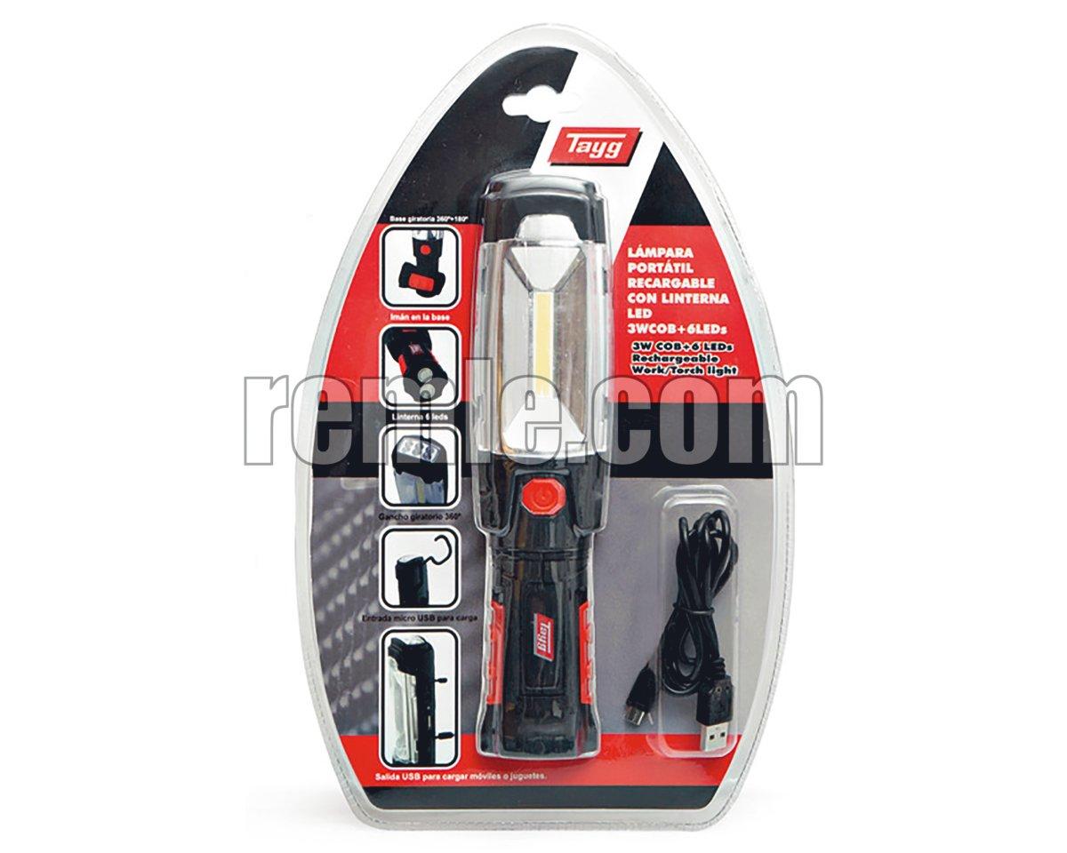 LÁMPARA TALLER LED RECARGABLE USB 280LM